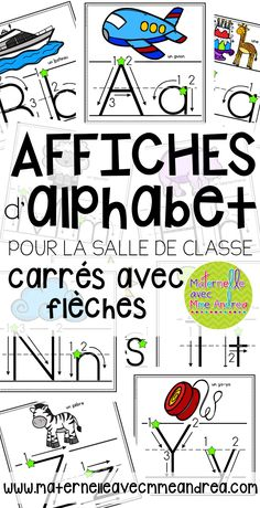 Affiches d'alphabet (FRENCH Alphabet Posters - Square with Arrows) Kindergarten Classroom Organization, Kindergarten Writing, Writing Activities, French Teaching Resources, Teaching French, Teaching Spanish, French Language Learning, Spanish Language, French Lessons