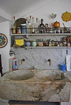 Old marble sink in Genoa