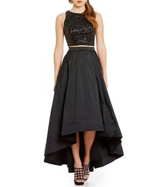 Aidan Aidan Mattox 2-Piece Sequin Top Hi-Low Gown