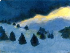 colin-vian: Emil Nolde - Mountain Landscape (also known as Mountain Landscape with Snow and Firs)