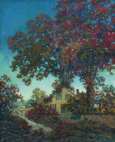 maxand:    Maxfield Parrish - House Under Red Oaks