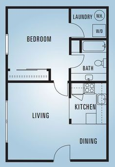 609 Anderson - One Bedroom E - 600 Square Feet . 609 Anderson - One Bedroom E - 600 Square Feet Mo One Bedroom House Plans, 1 Bedroom House, Small House Floor Plans, Basement House Plans, Cabin Floor Plans, Bedroom Floor Plans, House Bath, Basement Bedrooms, Basement Stairs