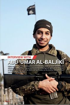Abdelhamid Abaaoud, aka Abu Umar al-Baljiki, from issue 7 of the Isis magazine Dabiq, published in February 2015.