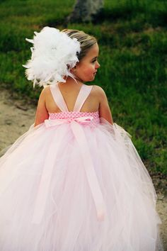 Sofie Pink and White Feather Tutu Flower Girl Dress