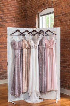 Pretty pastel dresses with metallic accents. View the full wedding here: http://thedailywedding.com/2016/07/26/gatsby-glam-wedding-inspiration/