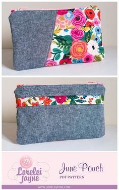 The June Pouch is an adorable pieced pouch with a cute back pocket with a zip cover, make this pouch in an afternoon, it's fat quarter and beginner sewing friendly. Bag Patterns To Sew, Sewing Patterns Free, Easy Sewing Projects, Sewing Tutorials, Sew Bags, Pouch Pattern, Simple Bags, Love Sewing, Lining Fabric