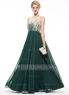 [US$ 161.99] A-Line/Princess Scoop Neck Floor-Length Chiffon Prom Dress With Beading Sequins