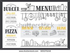 Cafe Menu Food Placemat Brochure Restaurant Template Design