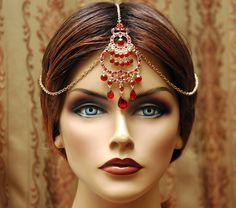 Tikka Hair Chain Headpiece, Red Headpiece, Maang Tikka Headpiece, Bollywood Hair Jewelry, Bridal Hair Chain, Indian Jewelry by AyansiWeddingDesigns on Etsy