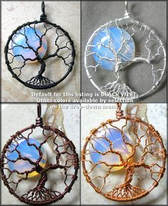 Rainbow Moonstone Full Moon Tree of Life by PhoenixFireDesigns, $50.00
