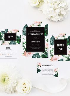 These Modern Rose Wedding Invitations feature a striking and modern design, with black and white detailing and soft pink vintage roses in the background. Botanical Wedding Theme, Woodland Theme Wedding, Woodland Wedding Inspiration, Country Wedding Decorations, Botanical Wedding Invitations, Vintage Wedding Theme, Pink Invitations, Watercolor Wedding Invitations, Modern Wedding Invitations