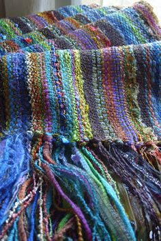 Barefootweaver: Woods Walk Scarf...love this weaver's choices.  Wish I had her stash.