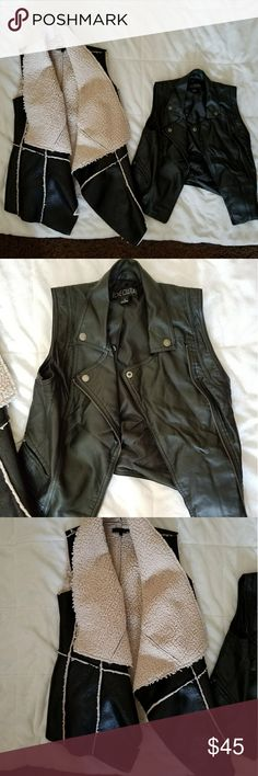Faux Leather Vest Bundle 2 different faux leather vest. One motorcycle style. The other a great fall/winter vibe to it. Both size small. Both been sitting in my closet for a long time. Never worn. Jackets & Coats Vests