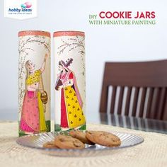 Using Miniature Art Form style and Fevicryl Soft Acrylic Colours, you can transform your cookie jars into beautiful works of art! Glass Bottle Crafts, Diy Bottle, Bottle Art, Diy Home Crafts, Diy Arts And Crafts, Painted Boxes, Hand Painted, Indian Art Gallery, Bottle Painting