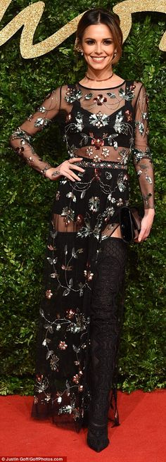 Sheer delight! Cheryl Fernandez-Versini wore a see-through sequinned floral embroidered gown with thigh high boots