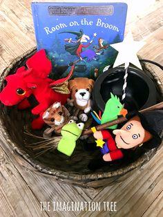 Room on the Broom Story Basket - The Imagination Tree Nursery Activities, Toddler Activities, Preschool Activities, Book Baskets, Picnic Baskets, Story Sack, Room On The Broom, Treasure Basket, Reggio Classroom