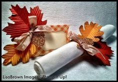 Stampin up thanksgiving table setting autumn accents Thanksgiving Place Cards, Thanksgiving Table Settings, Thanksgiving Parties, Thanksgiving Decorations, Candy Crafts, Paper Crafts For Kids, Autumn Crafts, Holiday Crafts, Fall Table