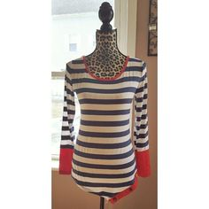 Nautical striped asymmetric hem top Brand new! Fits size M/L. Beautiful red/orange sleeve against navy striped pattern top. Irregular/asymmetric hem has stylish buttons. Rayon/spandex blend. Tops Tees - Long Sleeve
