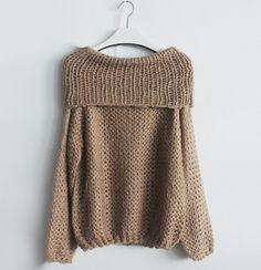 Women's Fashion Hand Knitting Long Sleeve Collar Strapless Sweater