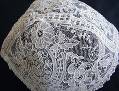 Maria Niforos - Fine Antique Lace, Linens & Textiles : Antique Christening Gowns & Children's Items # CI-88 Rare Brussels Point De Gaze Christening Bonnet