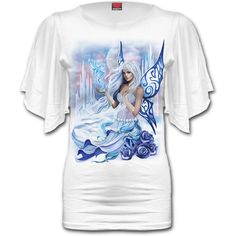 Womens WINTER FAIRY Latin Boat Neck Top White Shop Online From Spiral Direct, Gothic Clothing, UK