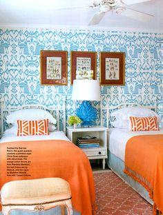 Orange & Teal Bedroom