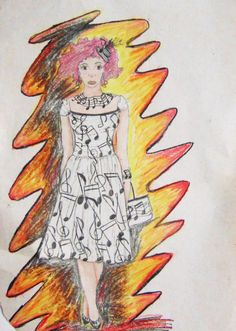 Na passarela musical - Uma modelo de passarela com um vestido estampado de detalhes musicais - Giz paste oleoso e lápis de cor