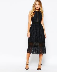 Image 1 of Whistles Aurelie Lace Midi Dress