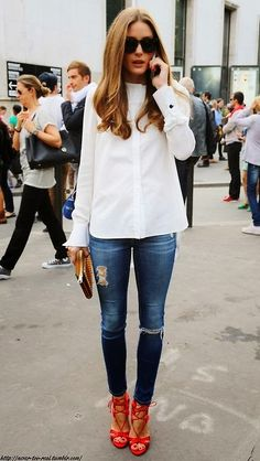 Olivia Palermo street style- Denim, white blouse and neon heels