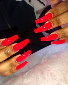 long acrylic nails red – Myself and My Nails Aycrlic Nails, Glue On Nails, Manicure, Matte Nails, Stiletto Nails, Long Red Nails, Coffin Nails Long, Cute Red Nails, Red Acrylic Nails