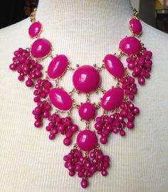 bubble necklace Dark Pinkbeadwork necklaceBeaded by FanCollections