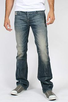 HELIX Dark Blue Denim BOOT-CUT Jeans w/ LEATHER CROSS POCKETS Men ...