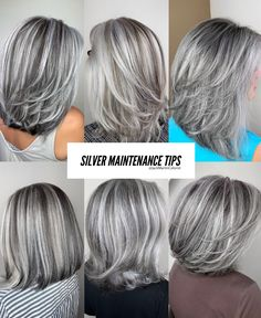 Silver Hair Maintenance Tips 1 week after dyeing your hair silver to wash it again. Leave your hair alone for 1 week after getting the silver so. Grey Hair Don't Care, Long Gray Hair, Silver Grey Hair, Hair Care, Silver Hair Colors, Grey Hair Over 50, Grey Hair Maintenance, Grey Hair Transformation, Gray Hair Highlights