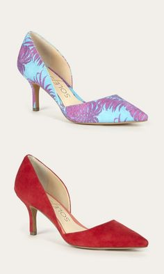 Suede mid heel d'Orsay pumps in blue raspberry and hibiscus red. Perfect for date night, showers and parties.