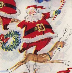 Vintage 1950's Santa and Reindeer Christmas Wrapping Paper - 15 Feet…