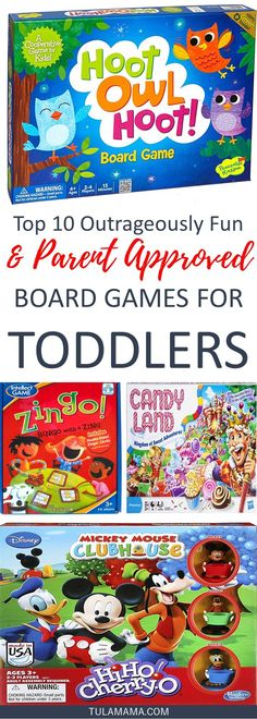 Board games for toddlers are a fun way to entertain and educate toddlers. No boring games! This post has the most popular board games. Pin it.