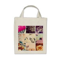 Custom Instagram Photo Collage Grocery Tote Bag