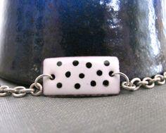 White Bracelet Enamel Bracelet Enameled Copper Silver by fiveforty, $48.00