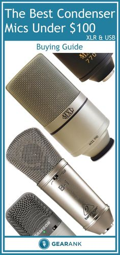 Detailed Guide to The Best Condenser Mics Under $100 - with separate sections for XLR and USB Mics. You'll find helpful advice on Diaphragm Size and Sound Pressure Handling, Polar Pattern and Background Noise Reduction as well as USB vs Non-USB connectivity. It also includes a list of recommended condenser mics which all have high approval ratings.