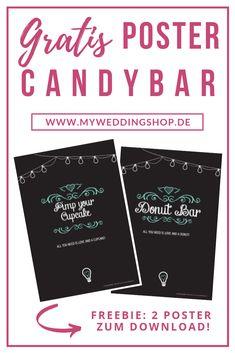 """Gratis für dich: Unsere Candybar Schilder für deine Hochzeit! Mit den Postern für die CANDY BAR oder den SWEET TABLE kannst du deinen Gästen zeigen, was es Leckeres zum Naschen und Essen gibt. Die Plakate """"Pimp your Cupcake"""" und """"Donut Bar"""" sind jeweils DIN A1 Plakate zum Download. Wir wünschen dir viel Freude damit! → jetzt herunterladen bei myweddingshop.de → #candybarhochzeit #candybarhochzeitdeko #candybarhochzeitschilder #hochzeitdiy #hochzeitsdeko #hochzeitfreebie Mom Birthday Crafts, 90th Birthday Gifts, Birthday Gift Baskets, Vintage Wedding Theme, Wedding Themes, Wedding Decorations, Wedding Ideas, Donut Bar, Candy Cards"""