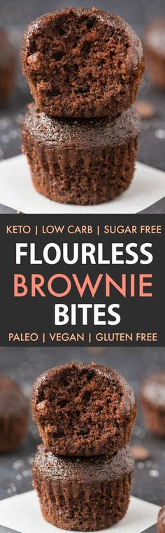 Healthy Flourless Paleo Vegan Brownie Bites (Keto, Sugar Free, Low Carb)- Easy fudgy, gooey flourless brownie bites recipe made with 5 ingredients, NO eggs, NO flour and NO sugar- the perfect ketogenic vegan dessert! #ketodessert #ketorecipe #veganbaking #brownies #flourless | Recipe on thebigmansworld.com