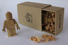 Great for adult lego fans. Limited Edition Wood-Carved Lego Guys by Malet Thibaut Lego Man, Lego Minifigs, Wooden Art, Wood Toys, Handmade Wooden, Wood Carving, Hand Carved, Carved Wood, Decorative Boxes