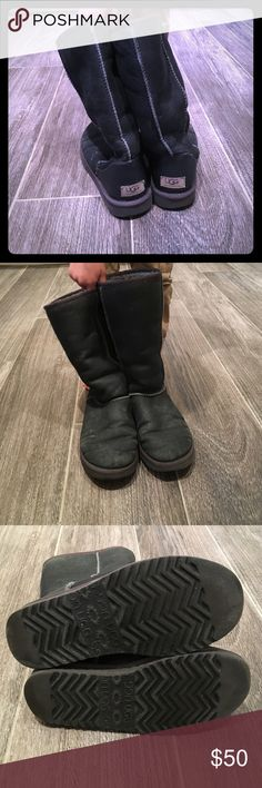 """UGG classic tall boot in silver. Size 7 women's Authentic UGG classic tall boot in silver metallic. Size 7 women's. Run big so can fit a 7.5-8. Worn condition, some water marks from snow which can be professionally cleaned. No holes or rips, but well loved.                                                Twinface sheepskin Nylon binding Foam and UGGpure™ wool insole EVA outsole Patent-protected tread design 11 ¾"""" shaft height Imported UGG Shoes Winter & Rain Boots"""