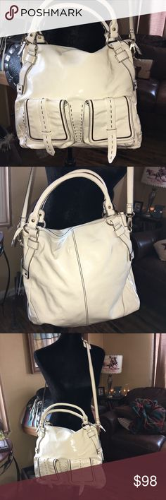 "🆕 NWT Kate Landry-LARGE patent leather purse NEW (NWT) Kate Landry Whip it Very LARGE Butter Hobo Satchel.  100% Leather! This would be a great bag for traveling. Big enough to fit tones of stuff & has a cross body with a extra wide shoulder leather to keep pressure off your shoulder. With Big buck stitching. 100% genuine patent leather. Zip top!  Gold-tone hardware - Zip pocket and 3 slip pockets inside. Ext Color: Ivory Butter - Measures: 16(L)"" x 14(H)ii"" drop. 39"" cross body strip. Made…"
