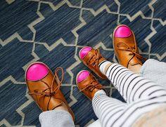 big/little neon cap shoes.