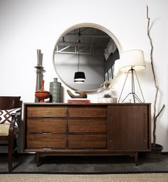 mcm bureau/credenza, table lamp