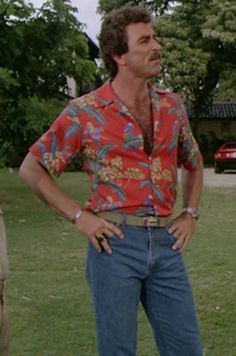 magnum PI. hands on hips