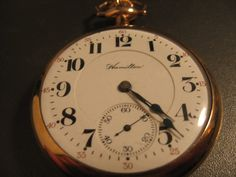 1910 Working Hamilton Pocket Watch – Railroad Grade 990L – 21 Jewels, Size 16s, Gold Filled Fahys Openface case.    This is the front of the watch which is White porcelain, double sunk, Arabic numerals, red 5-minute markers