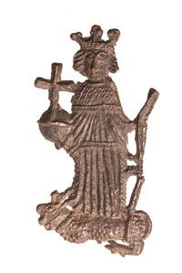 An English pewter pilgrim badge, dating from the late 1400s/early 1500s, showing King Henry VI above a heraldic antelope. (Museum of London)