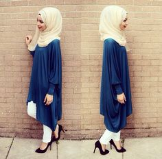 Hijab. so modest. I love the colors and draping, and the simplicity #simplebeauty #fashion #hijab #heels #blueandwhite